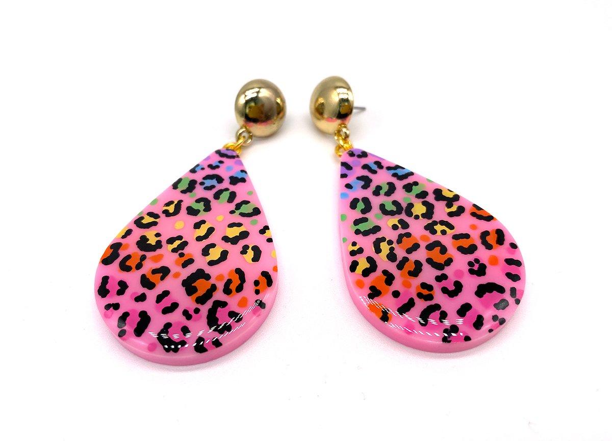 Image of Rainbow Leopard Drop Statement Earrings
