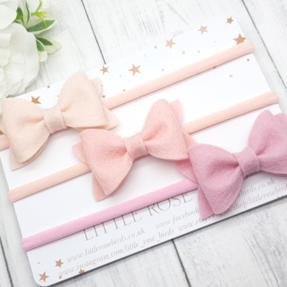 Image of Set of 3 Pink Pinch Bows - Choice of Headband or Clip