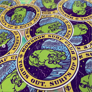 """Monsoon Surf Club"" - 3.6"" x 3.6"" Sticker"
