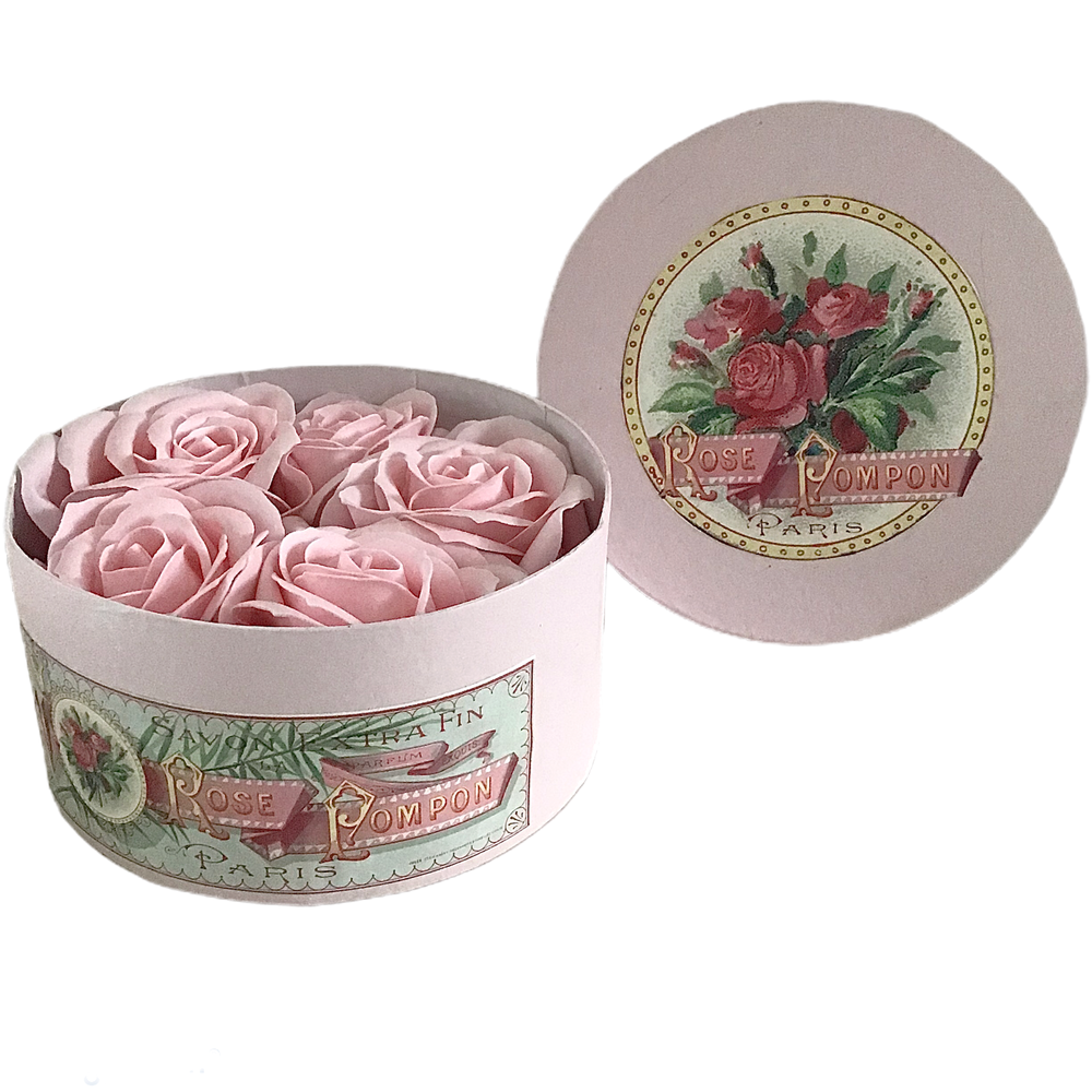 Image of Hand Painted Pink Hat Box Filled with Soap Flower Roses
