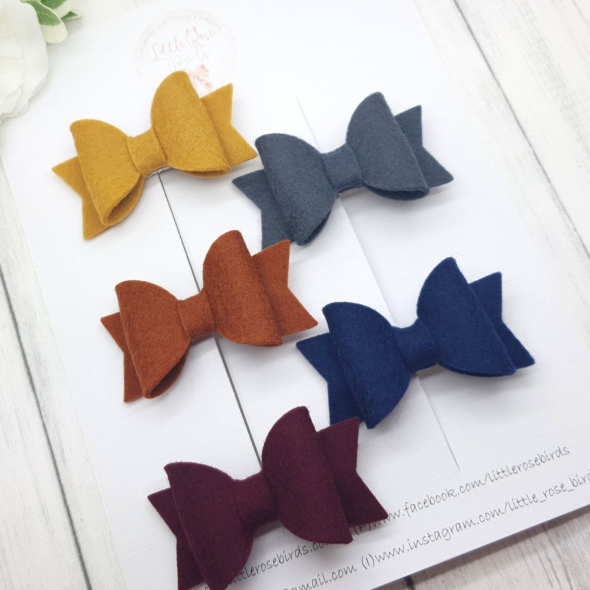 Image of Set of 5 Small Autumn Bow Set - Choice of headbands or clips