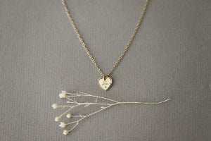 Image of 9ct gold Latin engraved Heart necklace with diamond