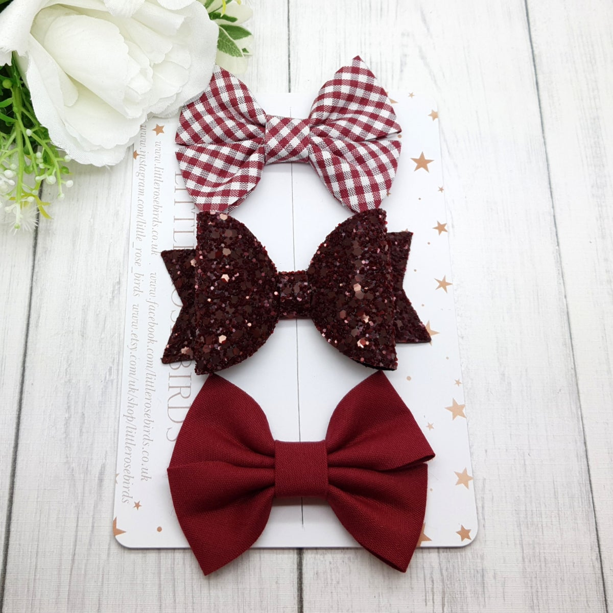 Image of Burgundy School Bows - Choice of Headband or Clip