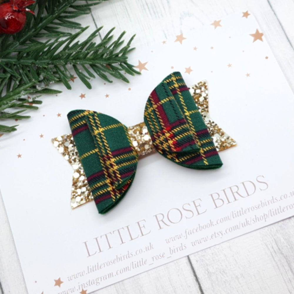 Image of Green & Gold Tartan Bow - Choice of Headband or Clip