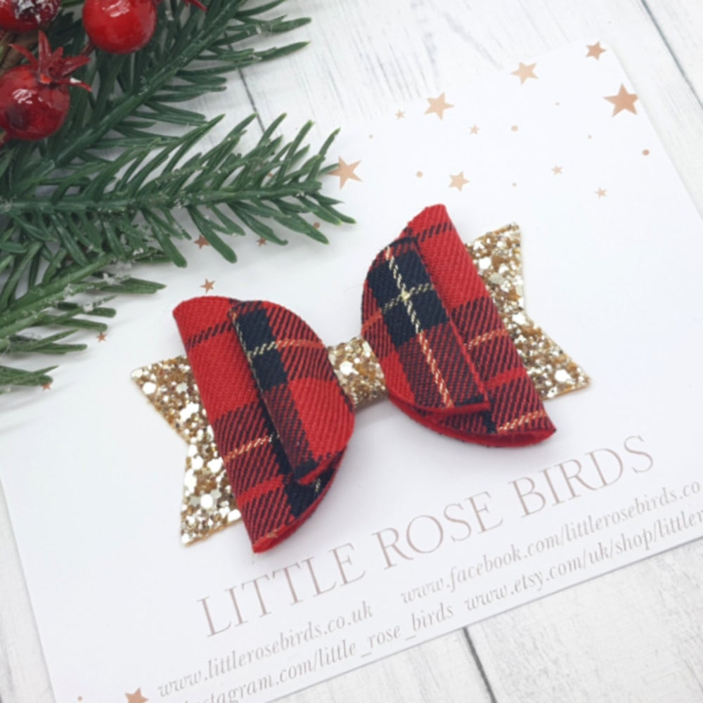 Image of Red & Gold Tartan Bow - Choice of Headband or Clip