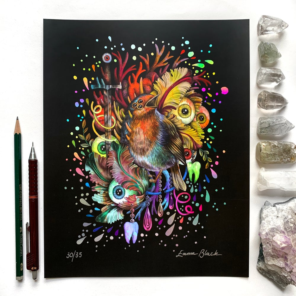 Image of Limited Edition 'The Burning Light' Holographic Rainbow Foiled Art Print
