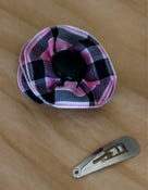 Image of Pink and Black Plaid Flower Clip