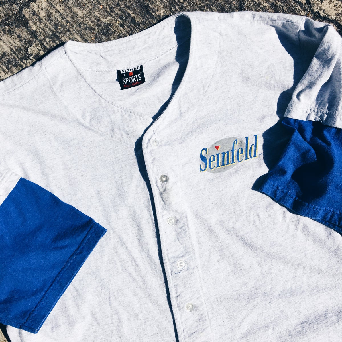 Image of Original 90's Seinfeld Button-Up Jersey Top.