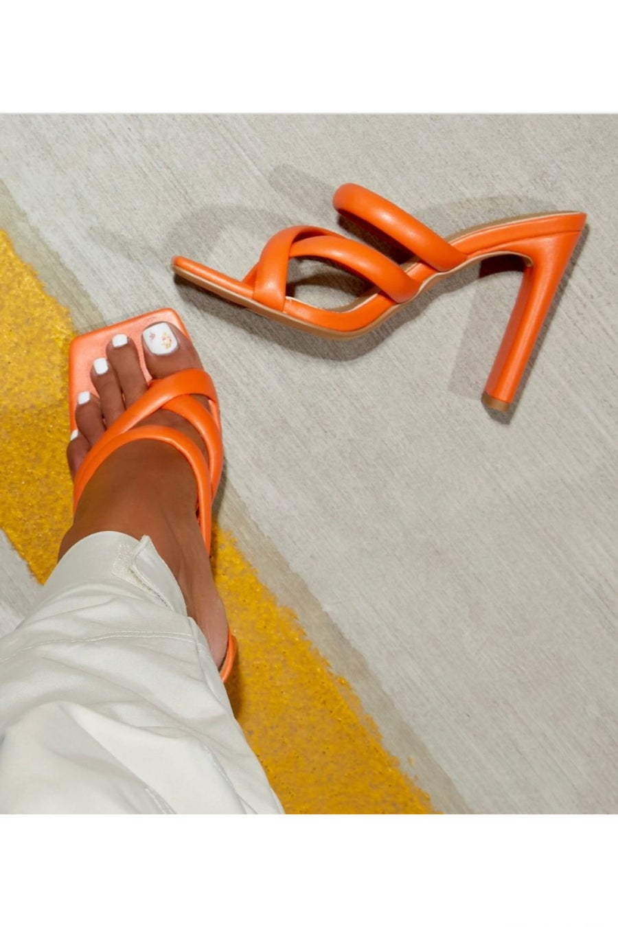 Image of Fuji Square Toe Padded Strappy Think Block Heel Mule In Orange Faux Leather