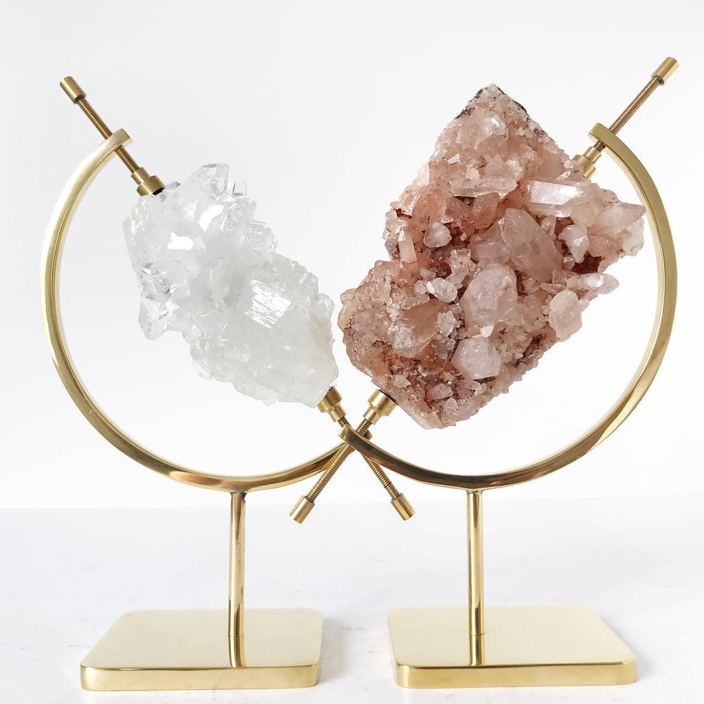 Image of Pink Himalayan Quartz no.75 + Brass Arc Stand