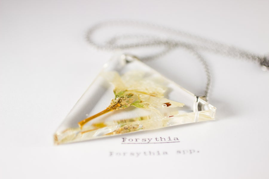 Image of Forsythia - Triangular Pressed Pendant #1