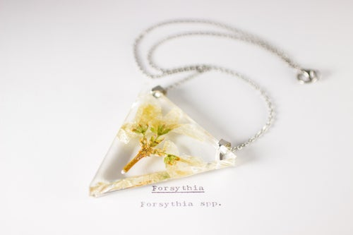 Image of Forsythia - Triangular Pressed Pendant #2