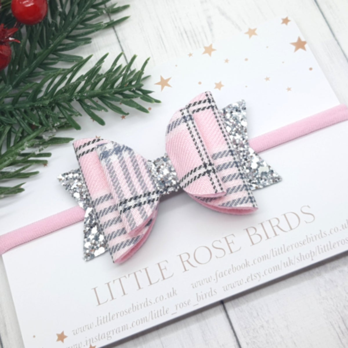 Image of Pink & Silver Tartan Bow - Choice of Headband or Clip