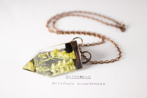 Image of Goldenrod (Solidago canadensis) - Small Copper Prism Necklace #1