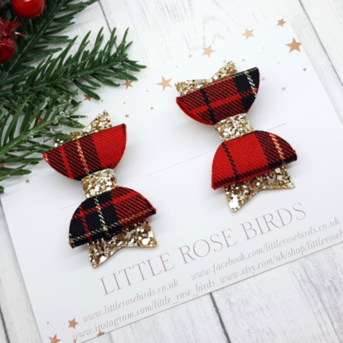 Image of Red Tartan & Gold Glitter Pigtail Bows