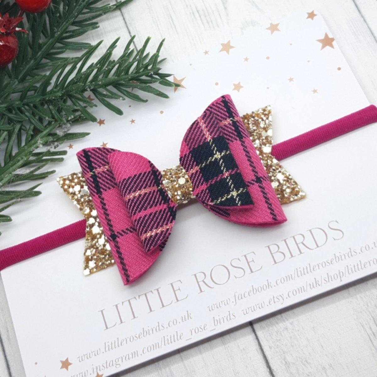 Image of Pink & Gold Tartan Bow - Choice of Headband or Clip