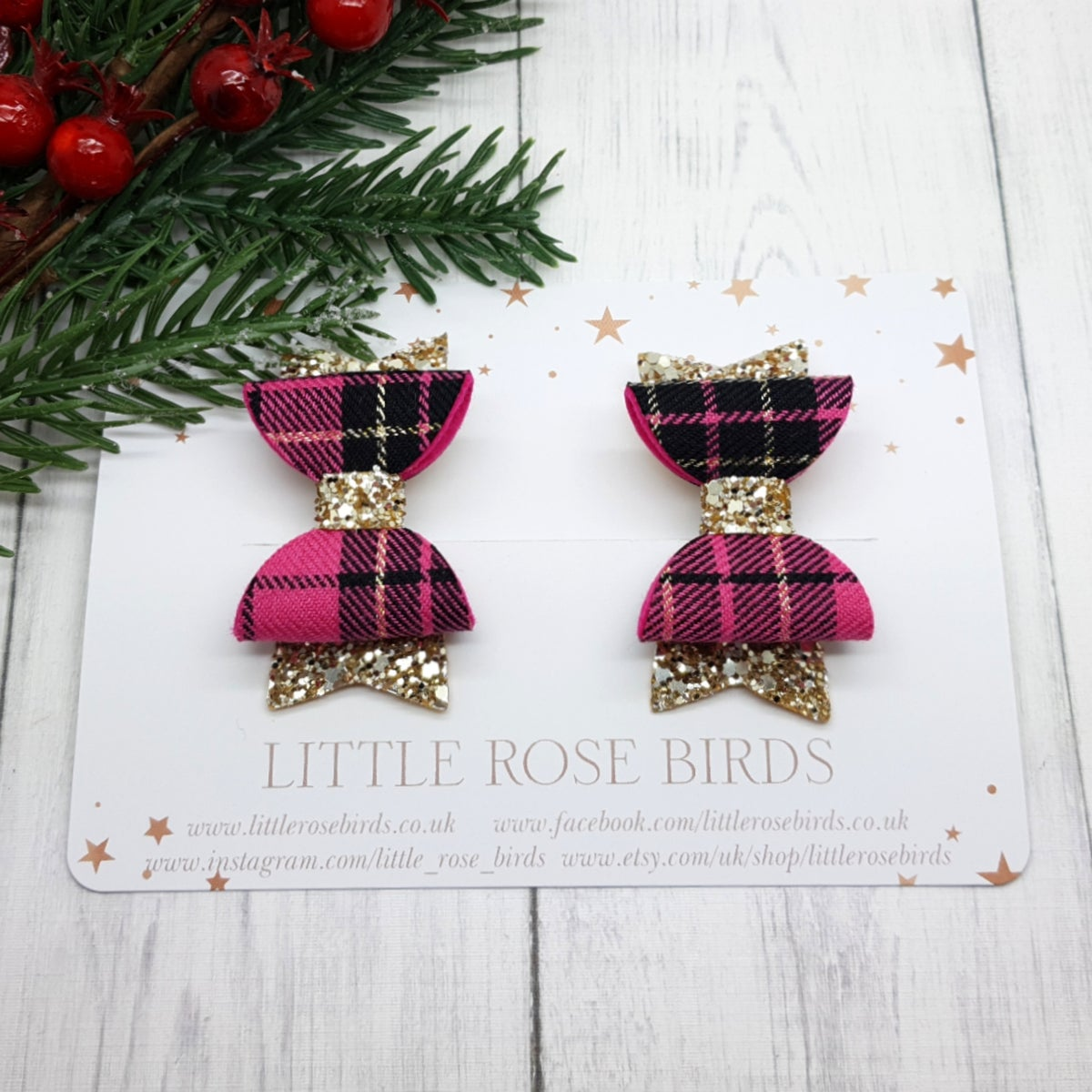 Image of Pink Tartan & Gold Glitter Pigtail Bows