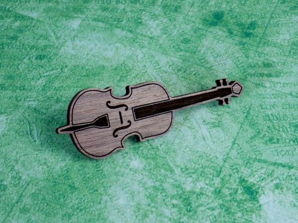 Image of Walnut Cello Hardwood Pin / Magnet