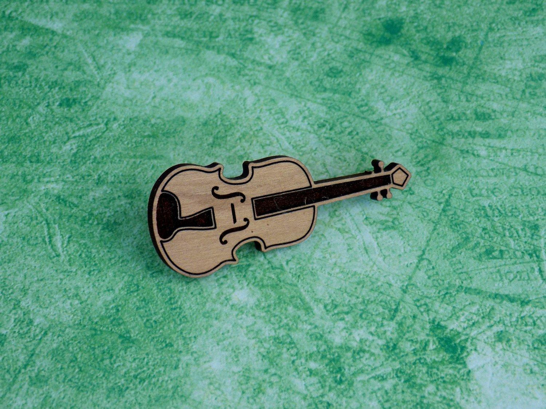 Cherry Fiddle Hardwood Pin / Magnet