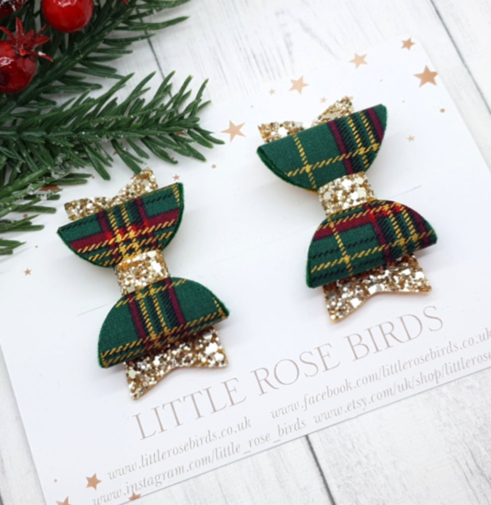 Image of Green Tartan & Gold Glitter Pigtail Bows