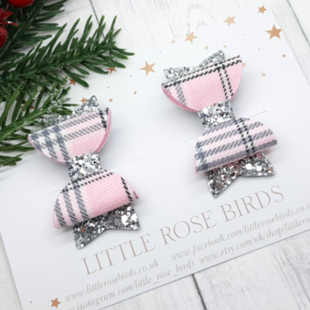 Image of Pink Tartan & Silver Grey Pigtail Bows