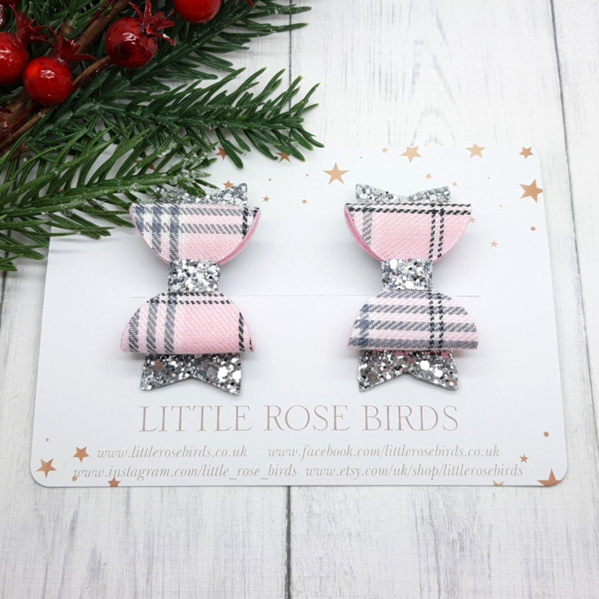 Image of Pink Tartan & Silver Grey Pigtail Bows