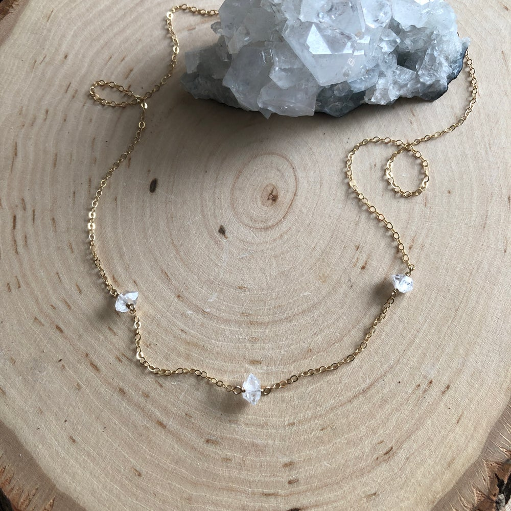 Image of Three station mini herkimer crystal necklace