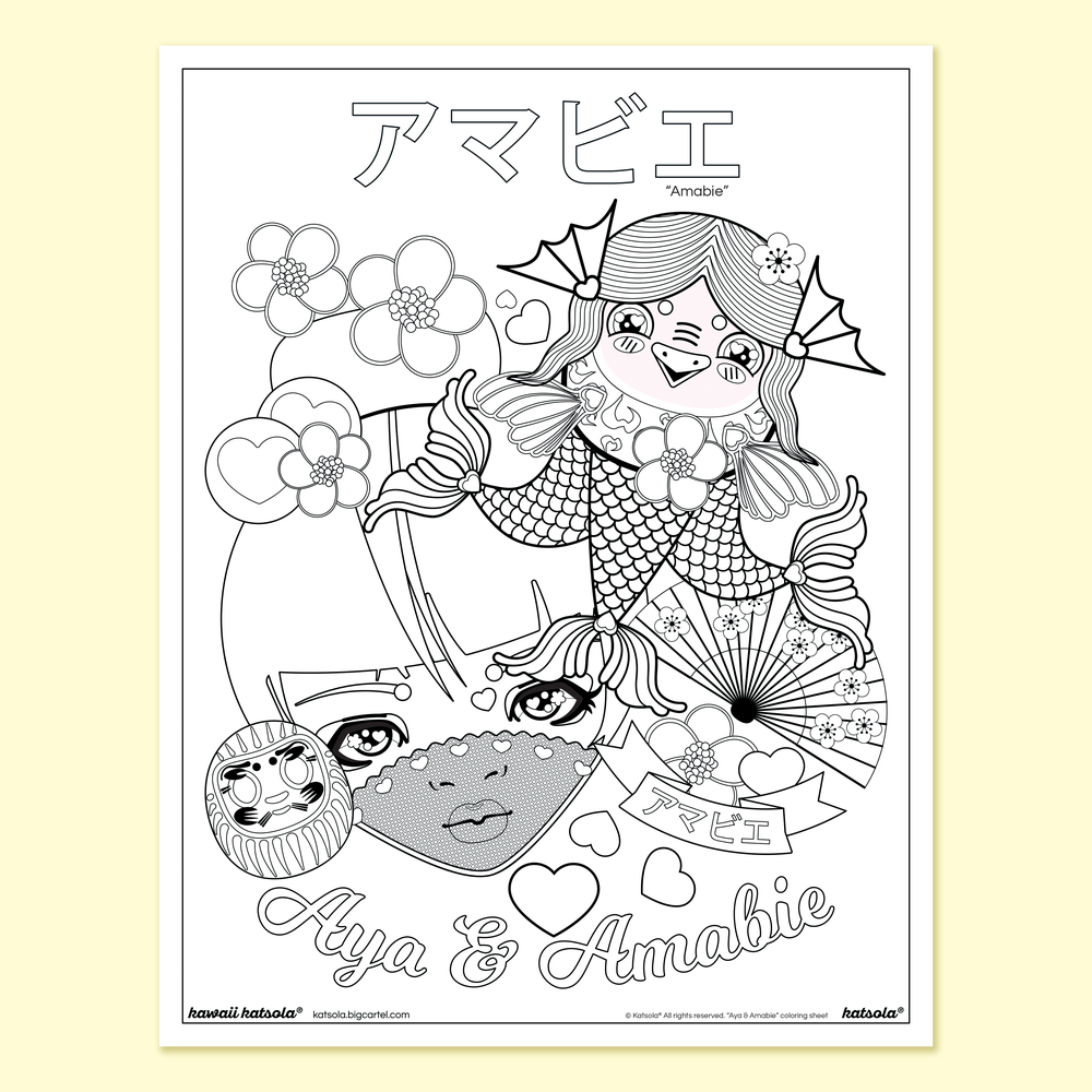 Image of Aya and Amabie Coloring Page Digital Download