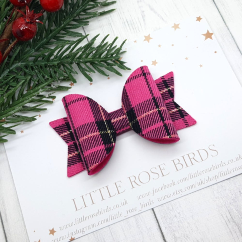 Image of Pink Tartan Bow - Choice of Headband or Clip