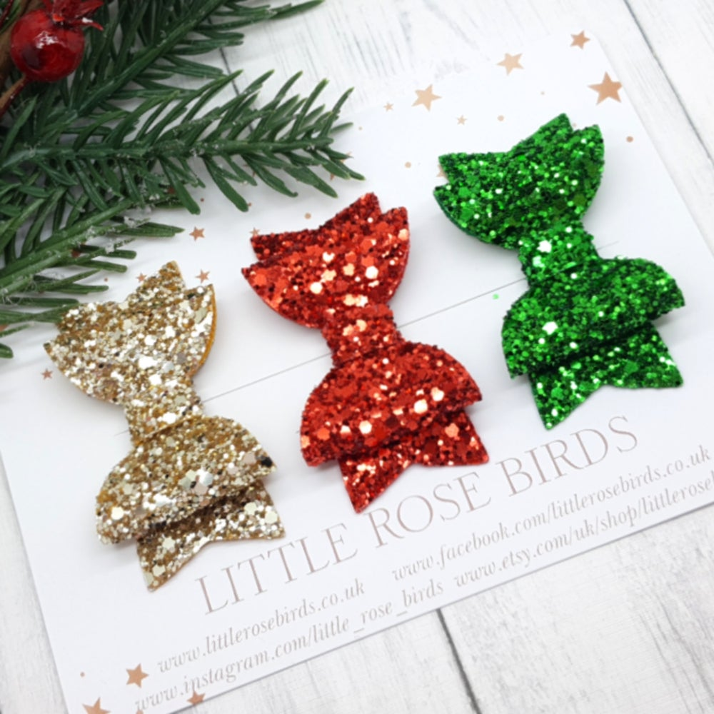 Image of Set of 3 Red / Gold / Green Glitter Bows - Choice of Headband or Clip