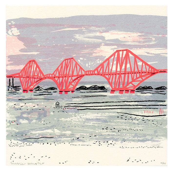 Image of Sunset bridge screen print