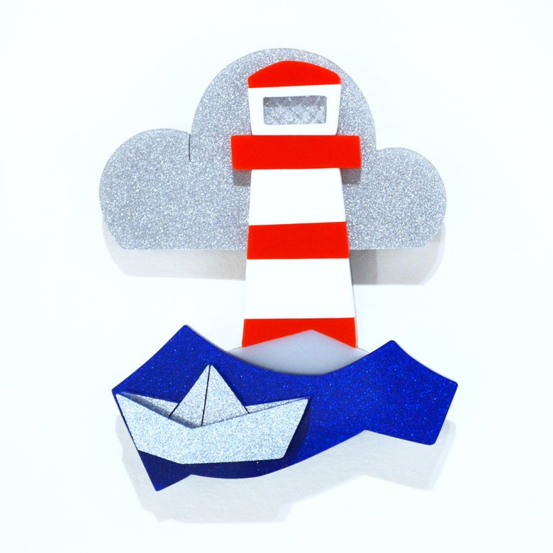Image of Stripey Lighthouse Brooch