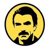 Image of American Mustache 4 Inch AM Yellow Stickers