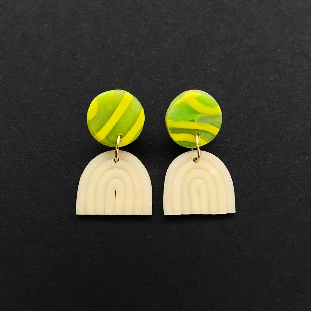 Image of Neon Green Rainbow Earrings