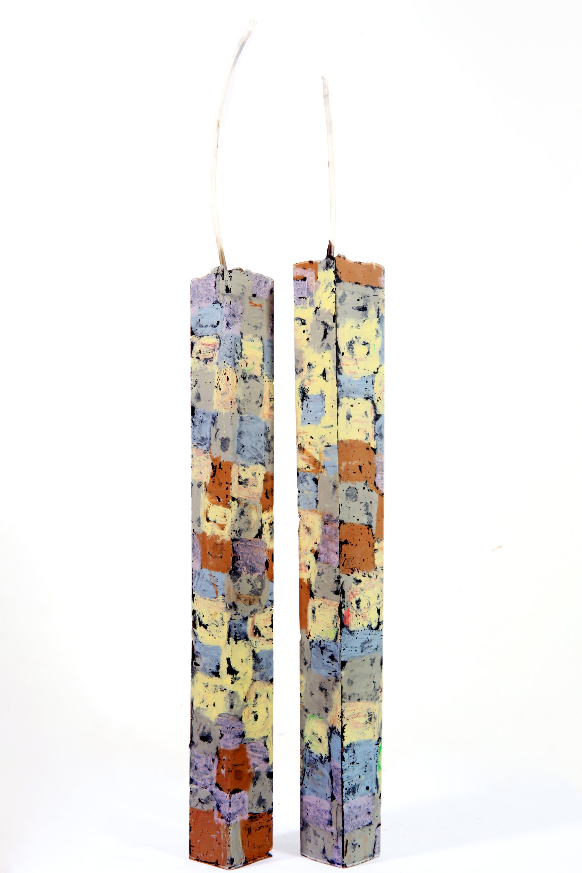 Image of Extra Tall Tower Pair in blue grey, smoke grey, lilac, soft yellow and sienna