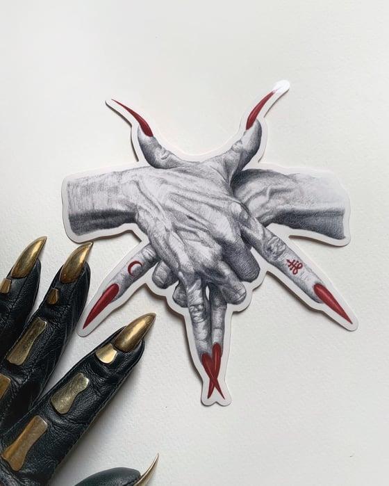 Image of Pentagram Hands large sticker