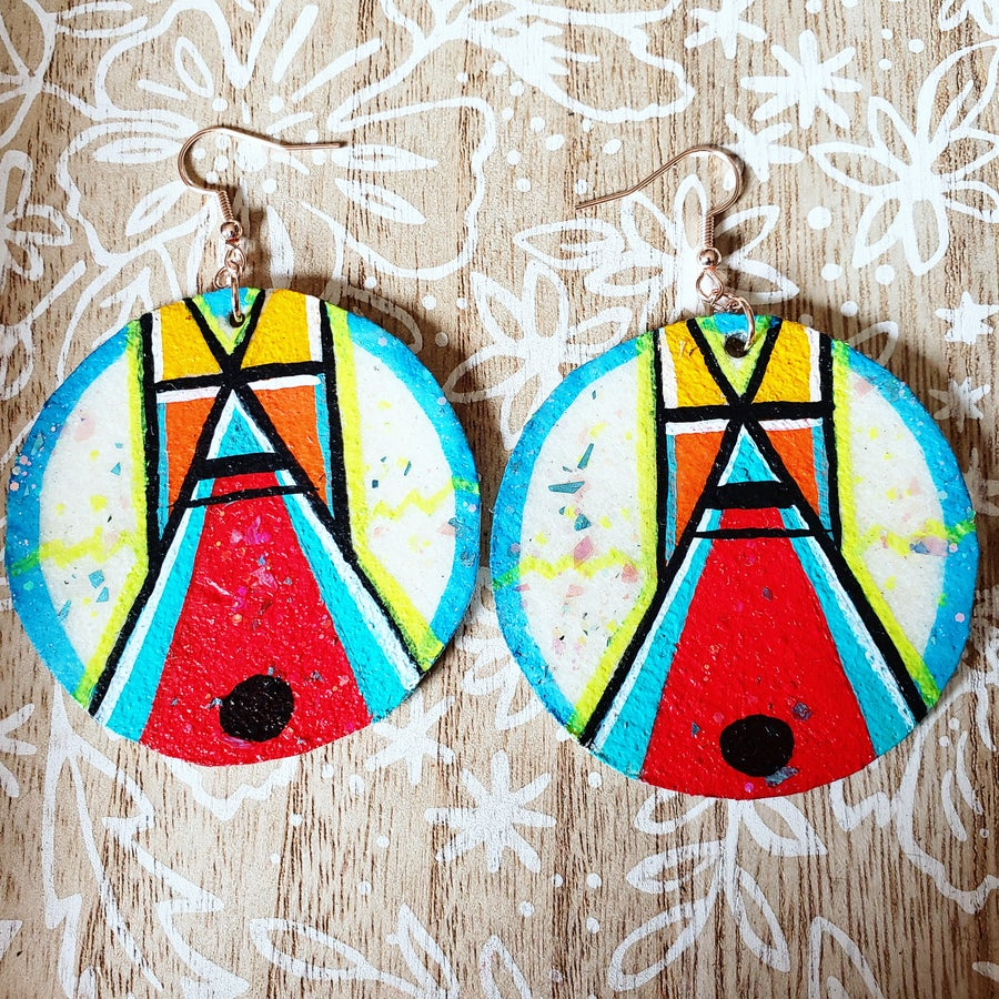 Image of Tipi earrings- red