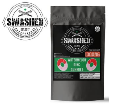 Image of 1000mg Sour Watermelon Rings - SMASHED