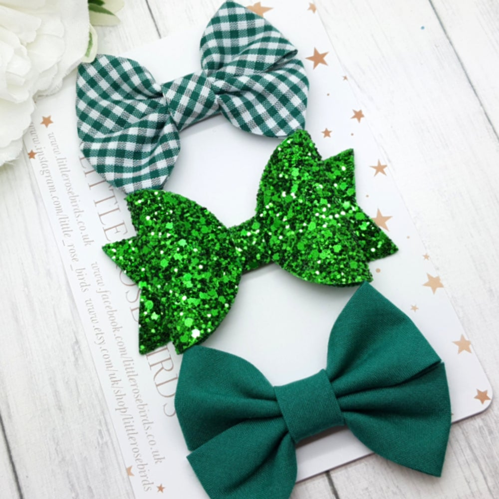 Image of Green School Bows - Choice of Headband or Clip