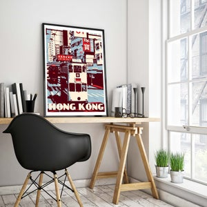 Image of Vintage poster Hong Kong - Tramway - Ding Ding Blue and Red - Fine Art Print