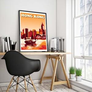 Image of Vintage poster Hong Kong - Victoria harbour - Fine Art Print