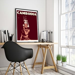 Image of Vintage poster Cambodia - Apsara - Fine Art Print