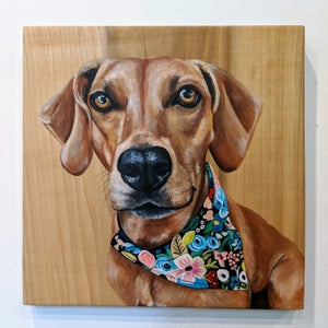 "Custom 12"" x 12"" Pet Portrait on Wood"