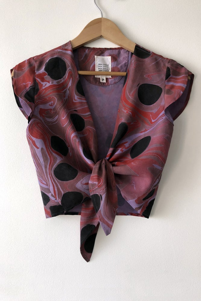 Image of Tulip Tie Blouse - Lilac Marble