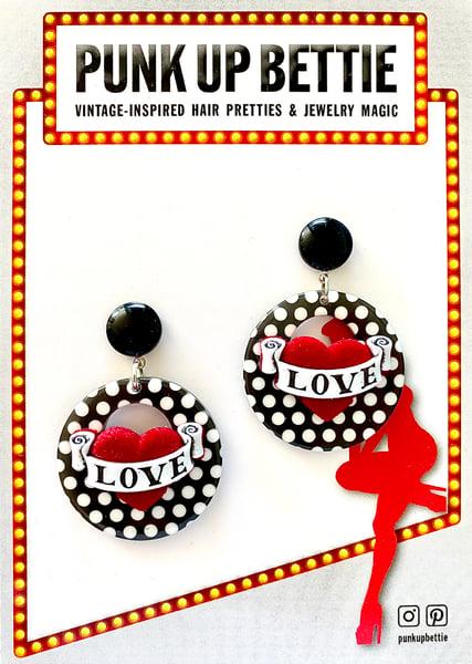 Image of Vintage Dottie Love Hearts Earrings