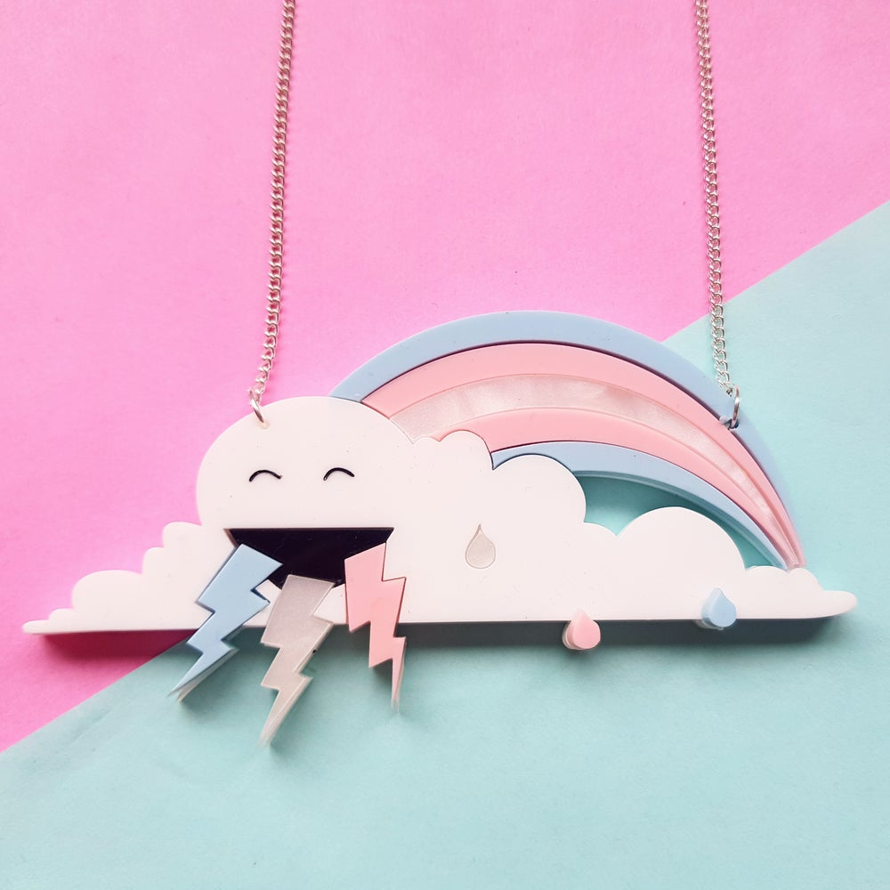 Image of Pastel Trans Flag Rainbow Cloud Necklace