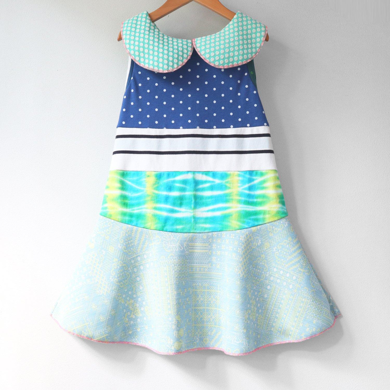 Image of polka dots blue green vintage fabric peter pan 6/7 collar tank sleeveless courtneycourtney dress