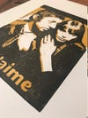 Serge Gainsbourg Jane Birkin. Je t'aime. Hand Made. Original A4 linocut print.