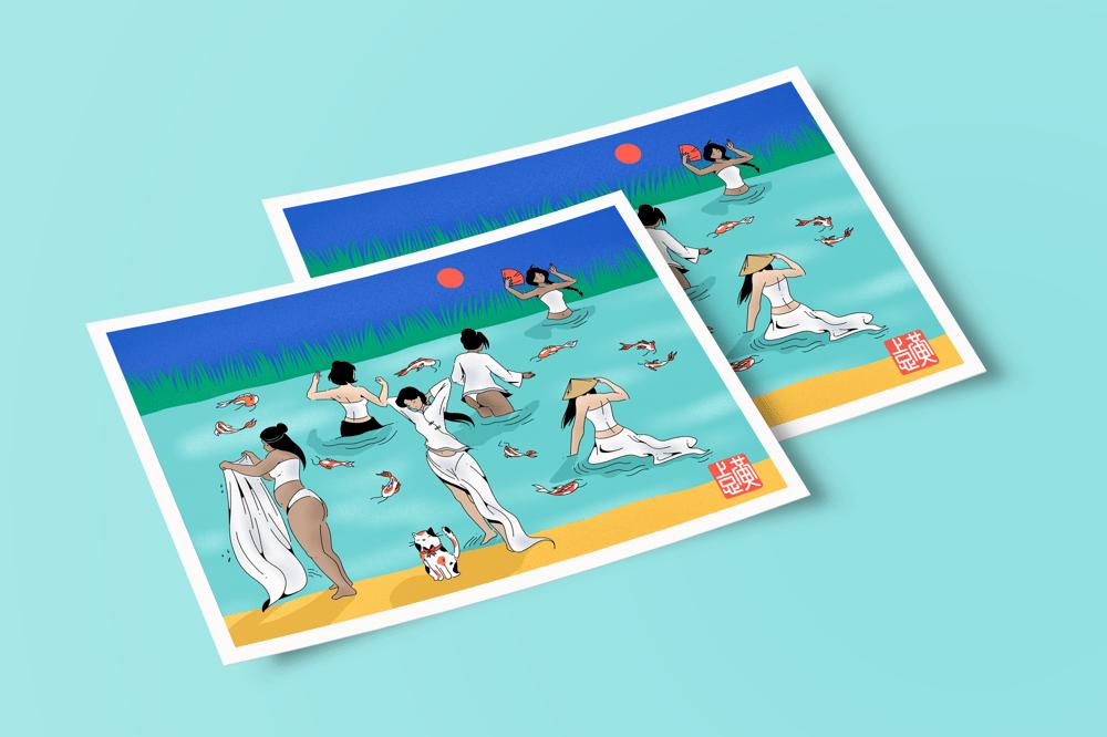 "Image of ""Bathers"" postcard"