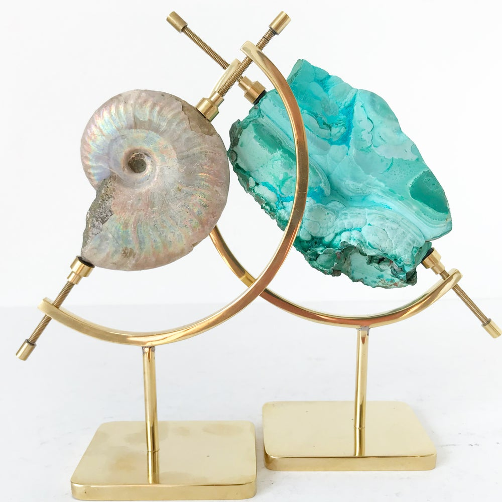 Image of Chrysocolla no.60 + Brass Arc Stand